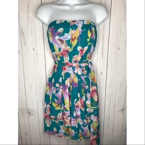 Express Size 2 Strapless Tropical Floral Dress